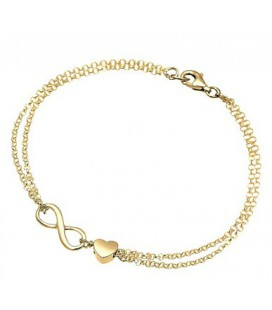 Gouden Armband infinity met een hartje